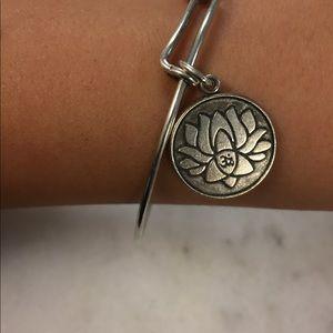 Lotus Alex and Ani Silver Charm Bracelet